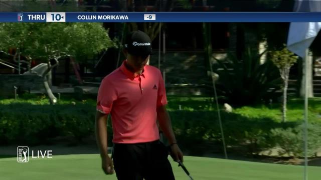 Collin Morikawa sinks birdie putt on No. 1 at Shriners