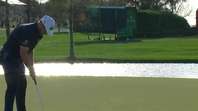 Tyrrell Hatton swirls in a 28-foot birdie putt at Arnold Palmer