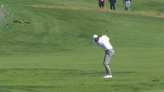 Collin Morikawa nearly holes approach shot on No. 3 at Genesis