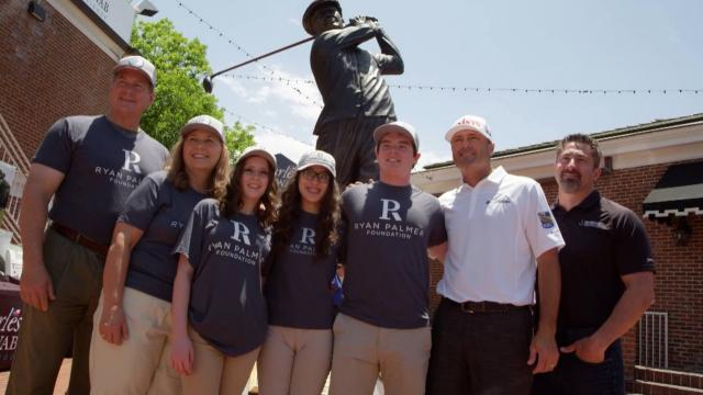 Ryan Palmer meets Brighter Smiles recipients at Colonial