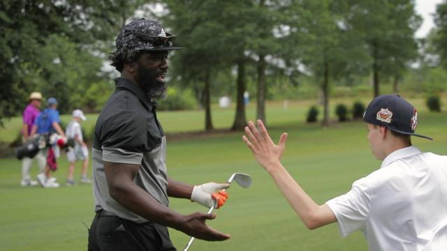 Ed Reed plays in Celebrity Shootout at the 2019 Zurich Classic