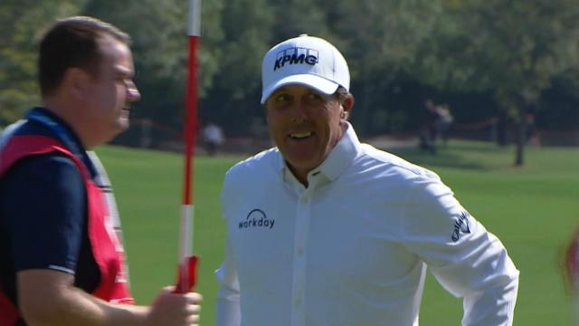 Phil Mickelson's birdie putt on No. 5 at WGC-HSBC Champions