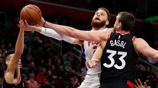 Pistons beat Raptors 110-107 to complete season sweep.