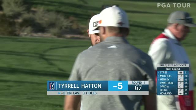 Tyrrell Hatton sinks a 42-foot eagle on No. 18 in Round 1 at THE CJ CUP