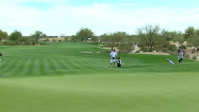 Andrew Landry gets up-and-down from bunker for birdie at Waste Management