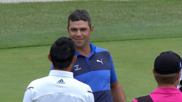Gary Woodland's birdie putt on No. 18 at ZOZO