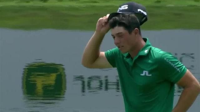 Viktor Hovland uses nice approach to set up birdie at John Deere