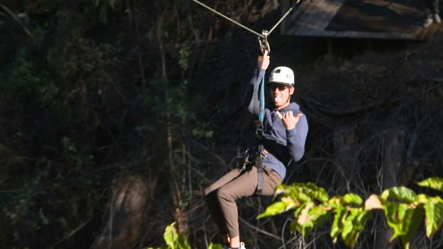 Lanto Griffin goes zip lining in Hawaii
