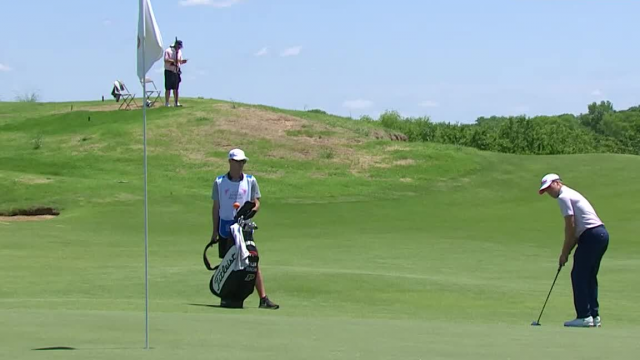 Tyler Duncan sinks a 33-foot eagle on No. 5 at AT&T Byron Nelson