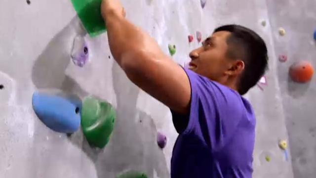 C.T. Pan goes rock-climbing