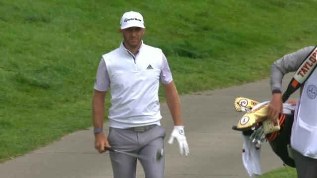 Dustin Johnson's approach from the cart path at PGA Championship