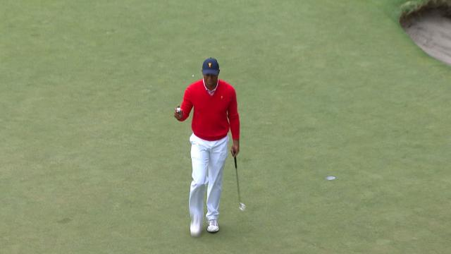 Tiger Woods' bunker shot yields 4-foot birdie at the Presidents Cup
