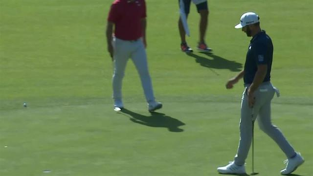 Dustin Johnson drains a 24-foot eagle on No. 17 at Genesis