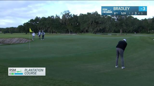 Keegan Bradley sinks for putt for eagle from off the green at The RSM Classic