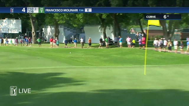 Francesco Molinari nearly aces No. 4 at Charles Schwab